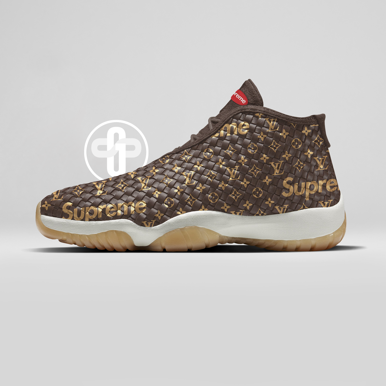 new concept 5b200 1bb16 Louis Vuitton x Supreme x Air Jordan Future Dark Chocolate