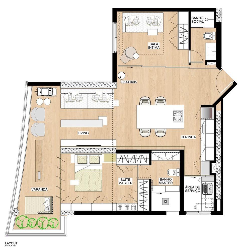 Galeria De Apartamento Pp Nildo Jose 12 Floor Plans Apartment Gallery