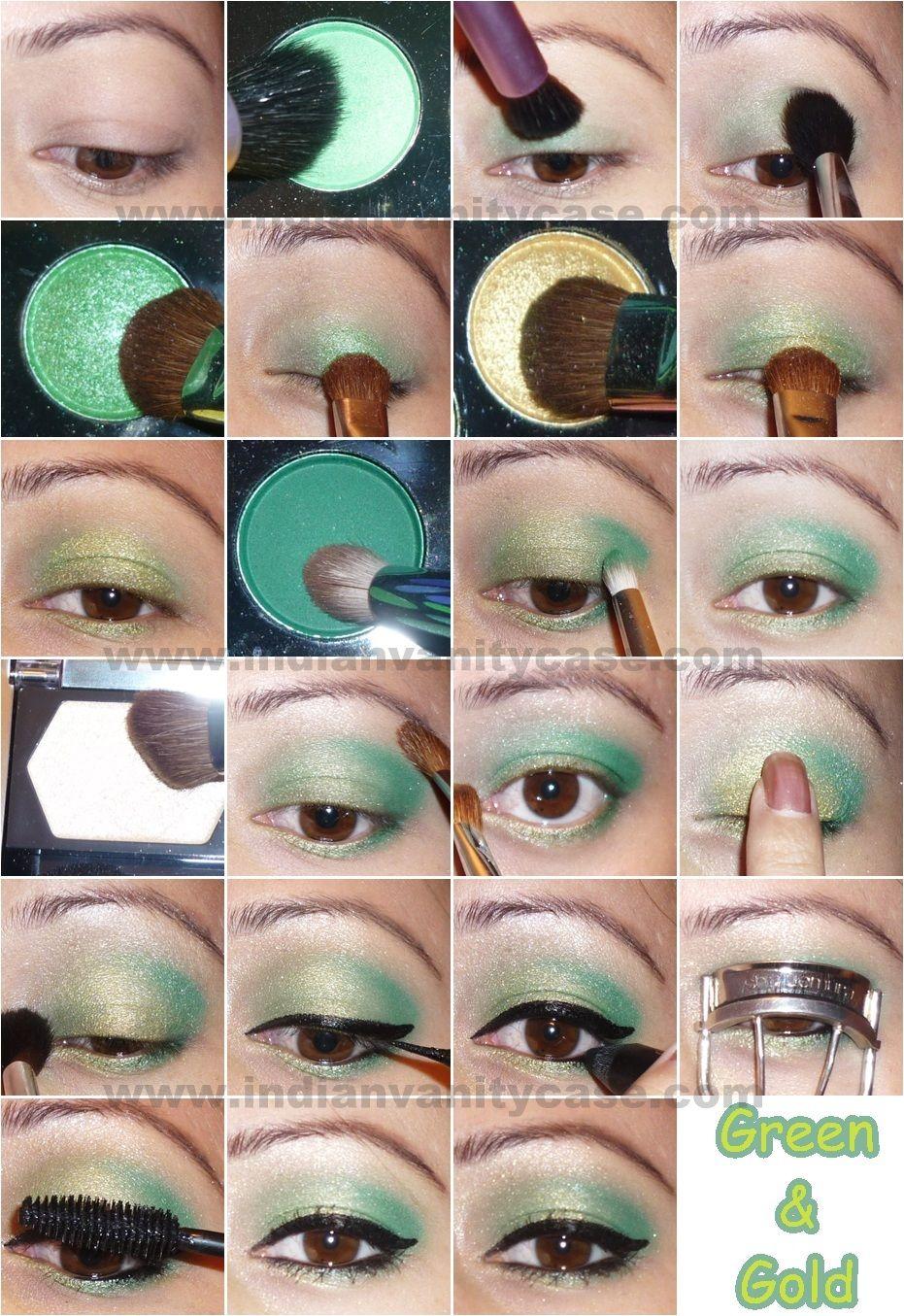 Indian vanity case diwali eye makeup tutorials for everyone diwali eye makeup tutorials for everyone green and gold baditri Images