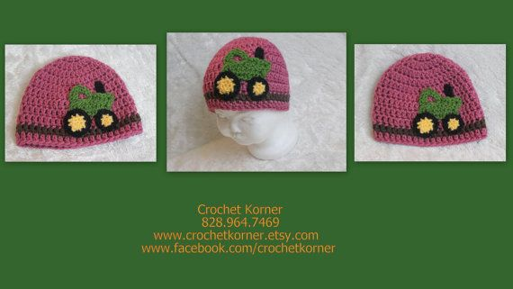 Crochet Korner Crochet John Deere Hat Girl by CrochetKorner, $18.00