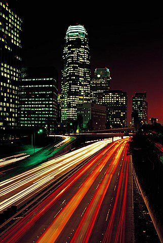 Los Ángeles El Centro Hollywood Autopista Por La Noche Angeles California Santa