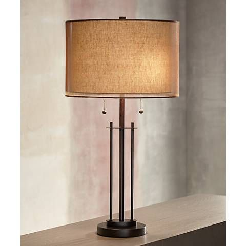 Franklin iron works double shade bronze table lamp style 5y471 the decorative appearance of this contemporary table lamp with a bronze finish and double lamp aloadofball Gallery