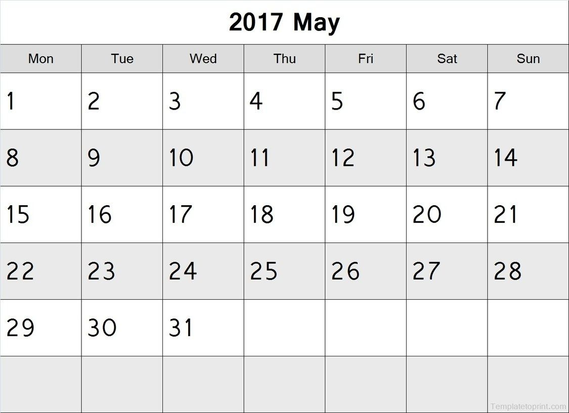 May  Calendar Monday Start Pdf File  Blank Calendar