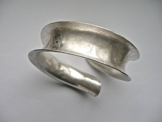 Textured Curved Silver Bangle by artigianajewellery on Etsy, £154.46