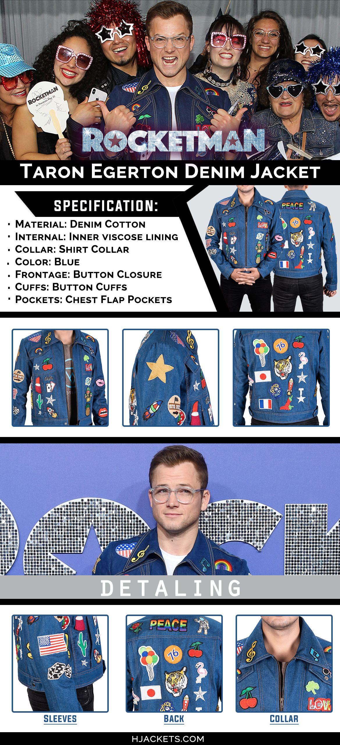 Rocketman Denim Jacket Infographic Denim Jacket Patches Jackets Patches Jacket [ 2559 x 1169 Pixel ]