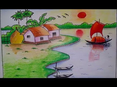 Draw A Beautiful Village Scenery With Easy Step Youtube D In