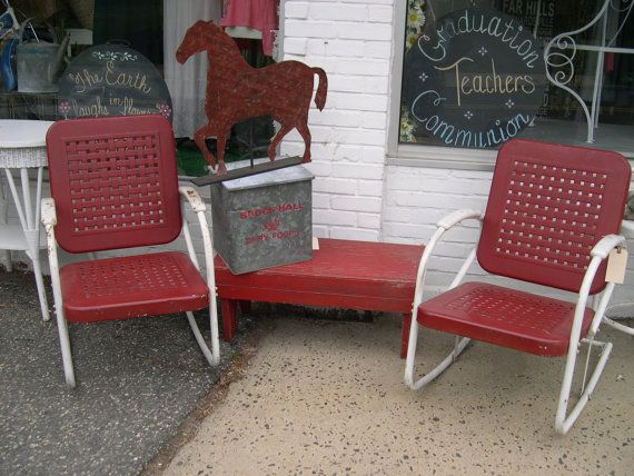Vintage Metal Garden Motel Chairs By Urbancottagegoods On Etsy R T