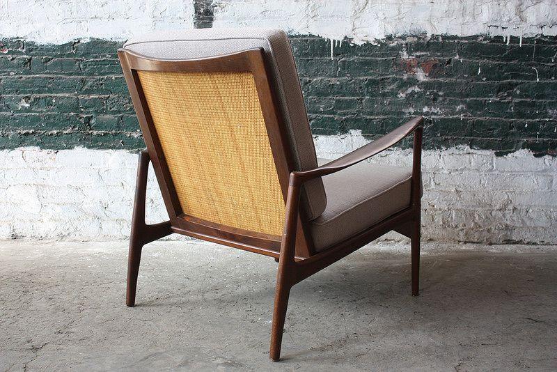 Rare Ib Kofod Larsen Danish Mid Century Modern Caned Back Lounge Chair Model 632-15 for Selig (Denmark, 1960s)