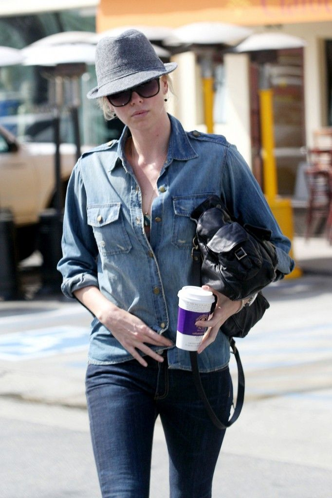 Charlize Theron Current/Elliott Denim Shirt and Rag and Bone Jeans