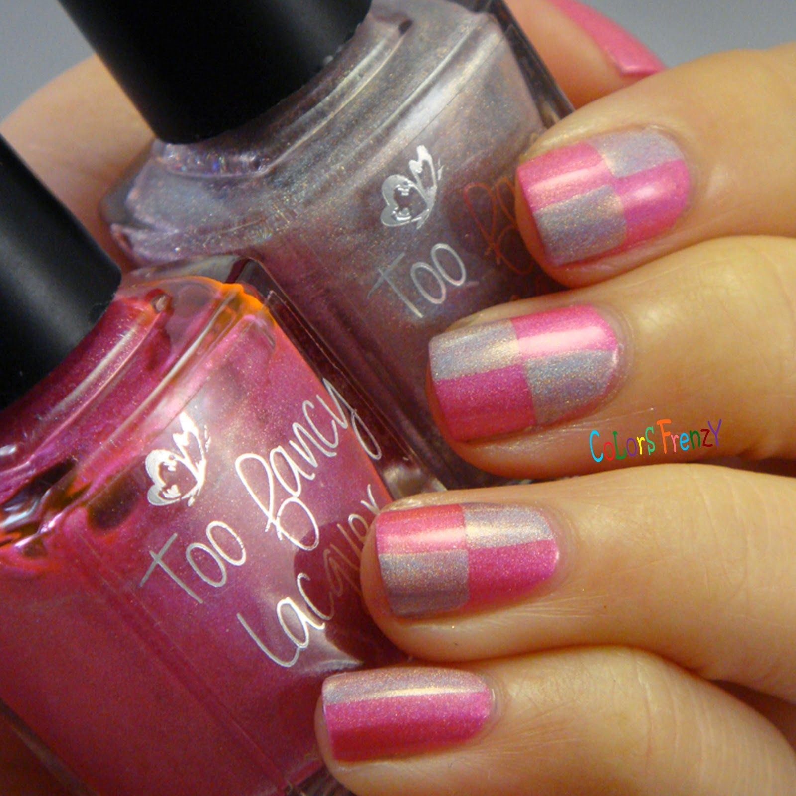 Pink Checker with Too Fancy Lacquer Lovelock Duo | Random Nail Art ...