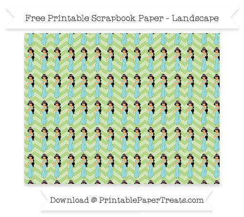 Free Landscape Pastel Light Green Chevron Large Princess Jasmine Pattern Paper - Aladdin