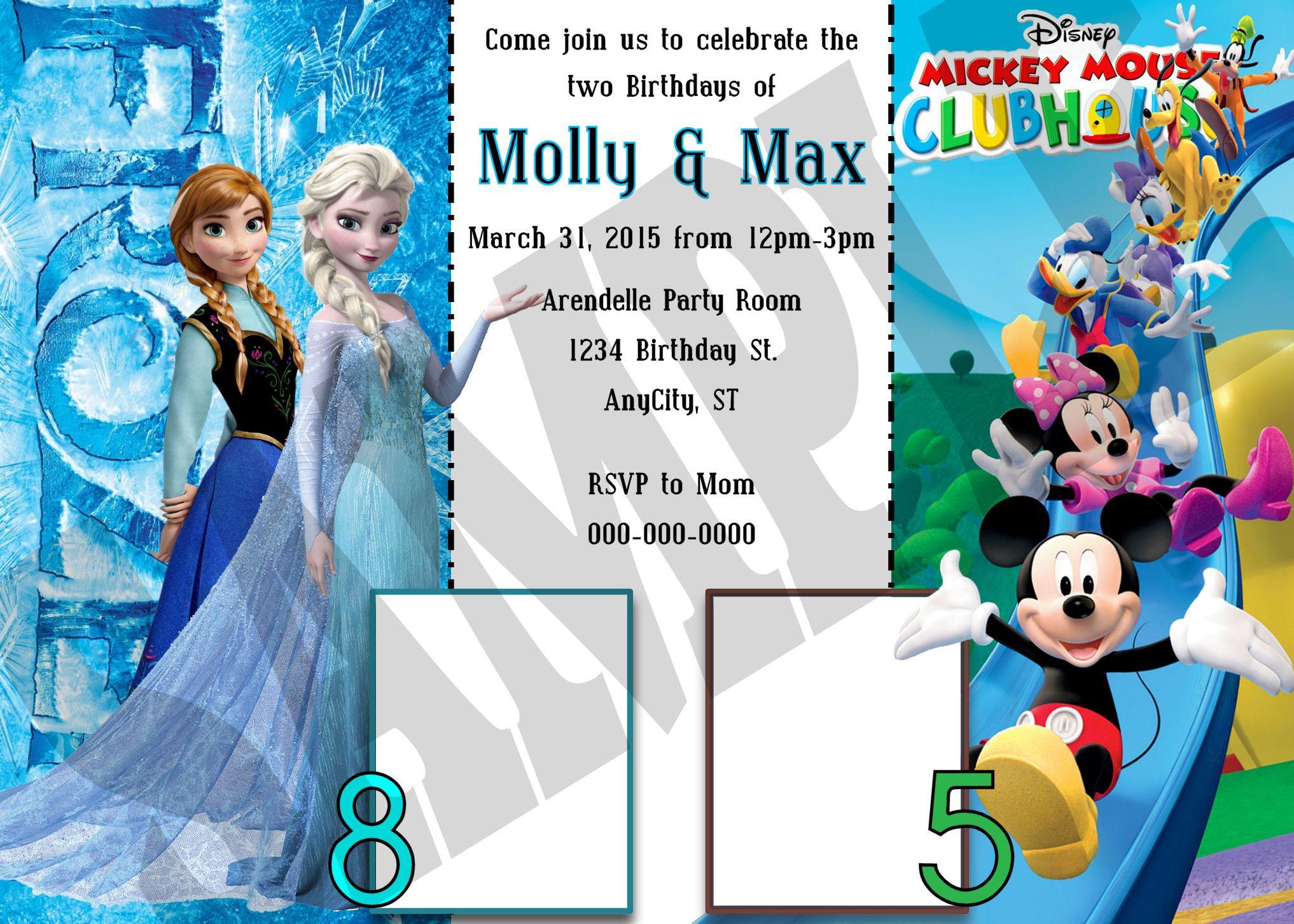 frozen mickey clubhouse double printable invitation design