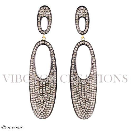 Earring 92.5 Solid Sterling Silver Wedding Earrings Full Pave Diamond 14k Pave Diamond 92.5 Sterling Silver Pave Setting Gold Diamond…