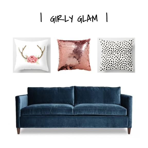 ONE COUCH   THREE WAYS - How to change the vibe of your home around large pieces of furniture. See how I created three distinct styles using the same #bluecouch :) www.designworthyb... #blog #blue #couch #sofa #pillows #throwpillows #girly #glam #sparkle #antlers #sequins #polkadots #pink