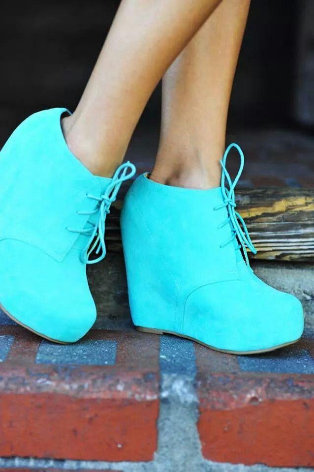 Royal Blue Platform Wedge Shoes