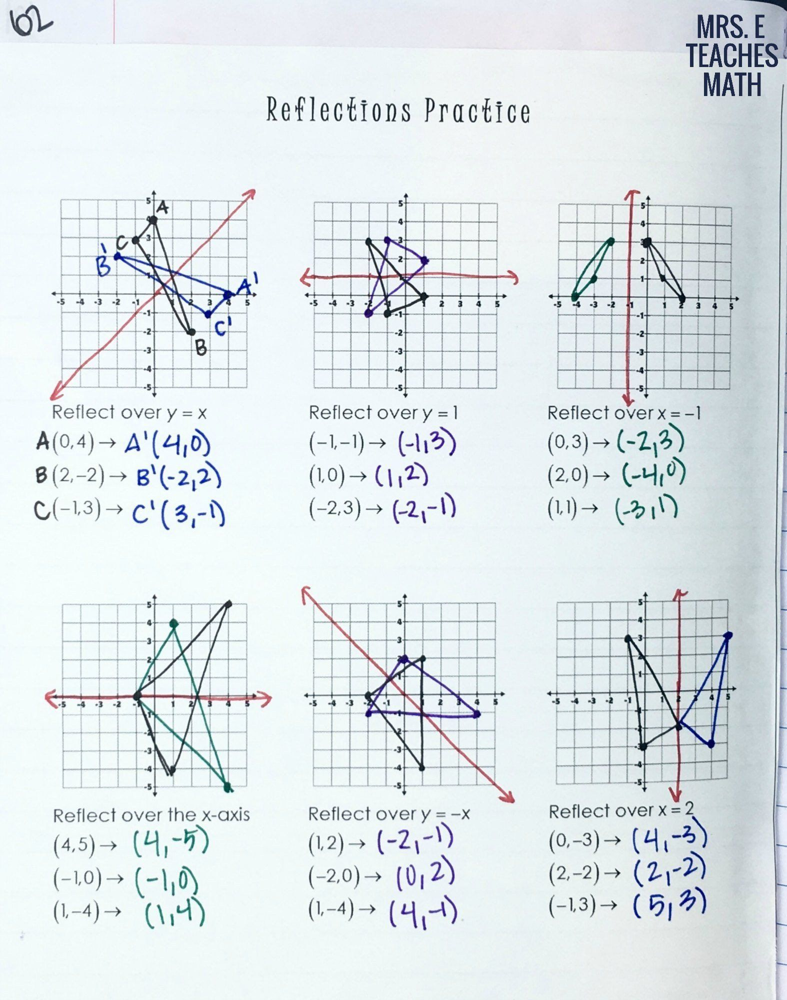 Geometry Transformations Worksheet Answers Reflections And