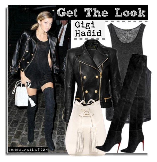 """Get The Look: Gigi Hadid"" by hamaly ❤ liked on Polyvore featuring Tom Ford, GetTheLook, balmain, gigihadid and hmbalmaination"