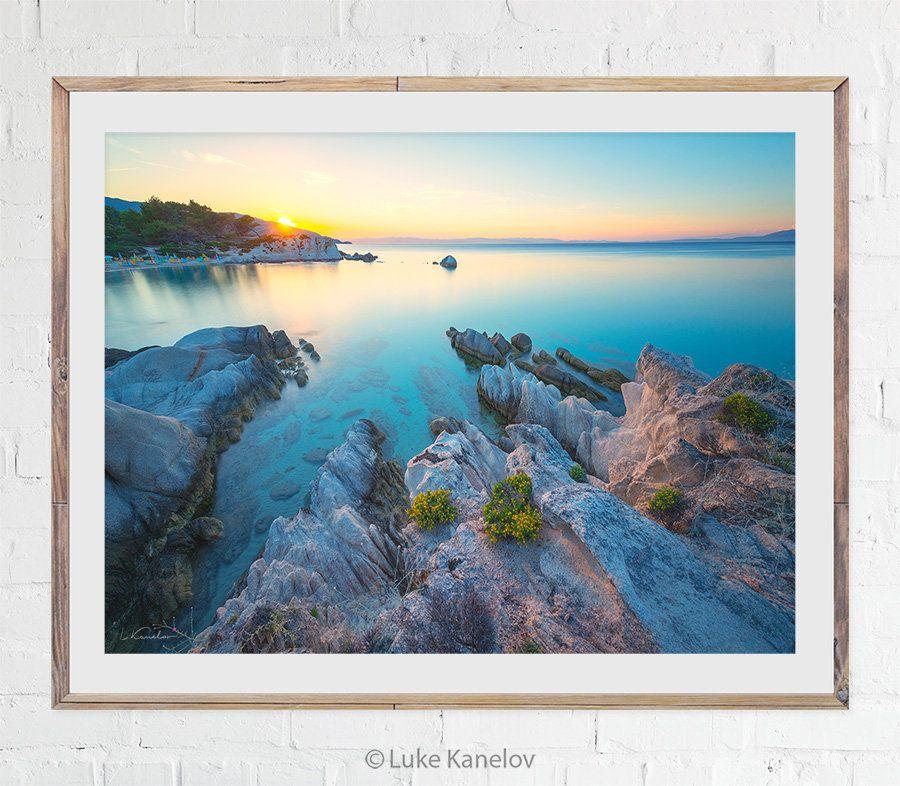 Sunset Beach Photography Ocean Print Sea Artwork Landscape Photo Colorful Scenery Pastel Colors Large Wall Art Coastal Decor Rocks Sea Artwork Ocean Print Beach Photography