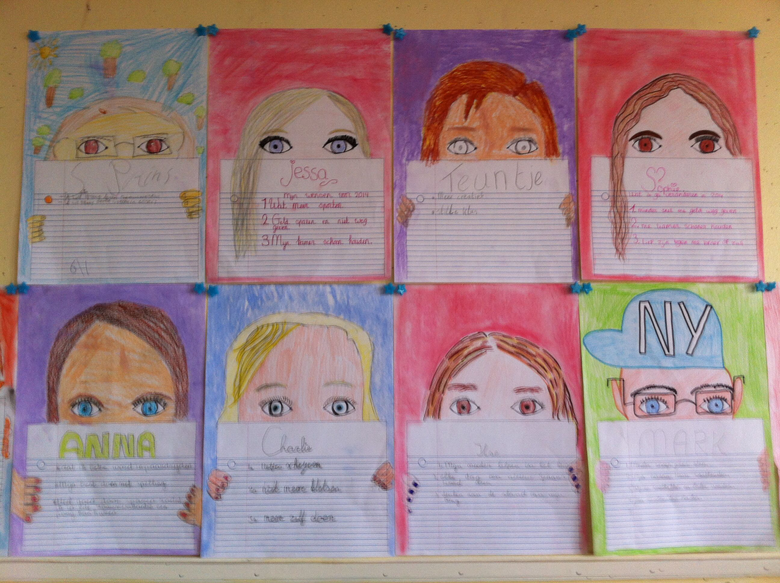 Zelfportret met goede voornemens/doelen voor komend jaar. Groep 6,7,8