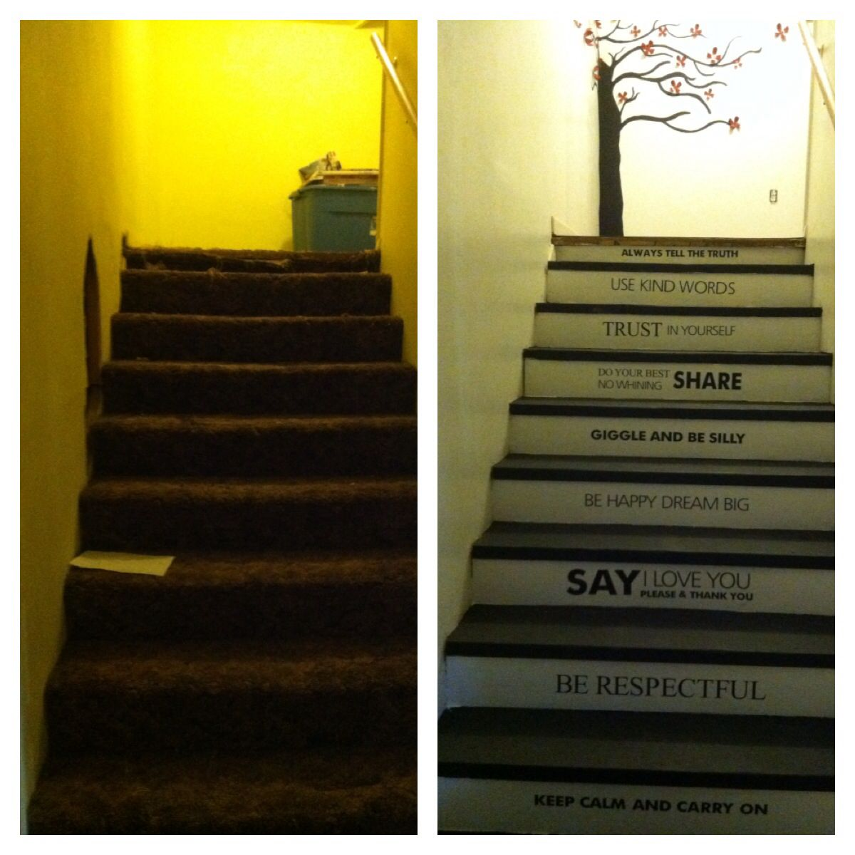 Stairway Makeover Using Umbra 3 D Wall Art, Behr Deck Paint For Stairs And