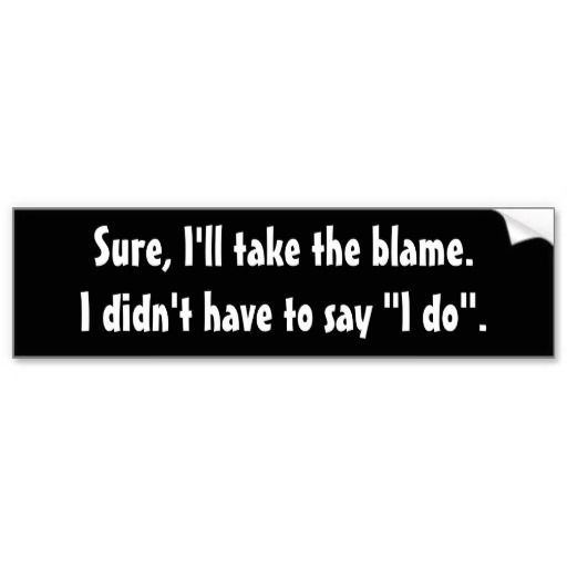 """Funny Quotes, Funny Bumper Stickers, """"Sure, I'll Take the Blame"""" Bumper Sticker, Married...with Children Quotes, Al Bundy Quotes"""