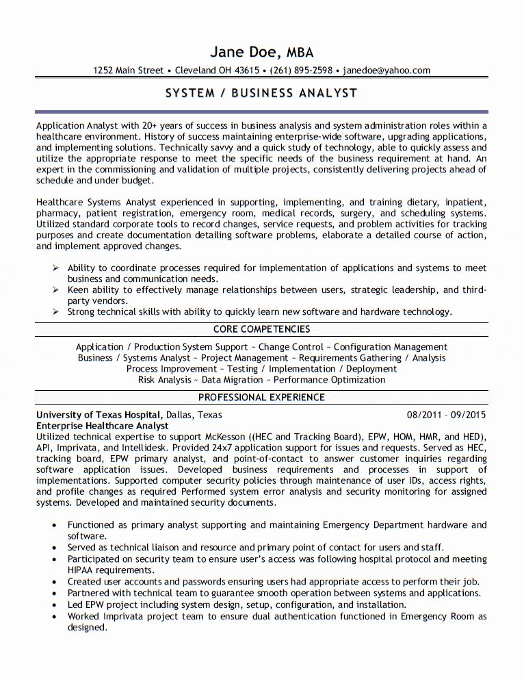 Health Care Business Analyst Resume Unique Application Analyst Resume In 2020 Business Analyst Resume Business Analyst Data Analyst
