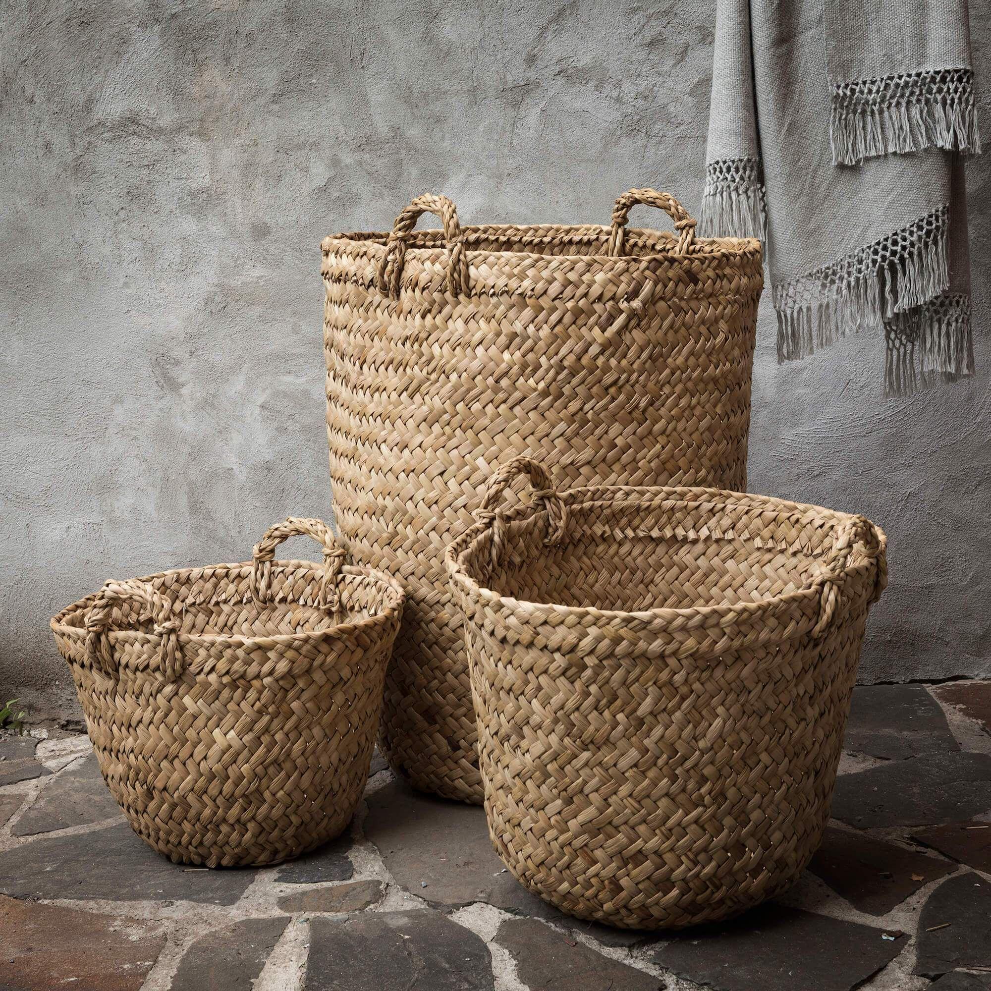 Totora Reed Basket In 2020 Basket Wicker Fireplace Baskets