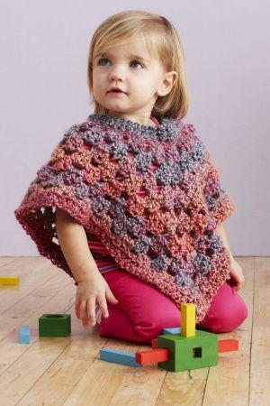 Free Crochet Pattern: Baby Poncho Lion Brand® Homespun® Pattern ...