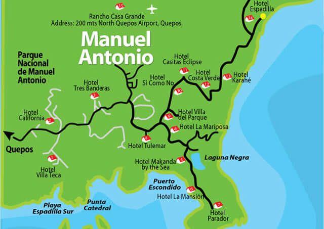 Manuel Antonio Costa Rica Map Costa Rican map, Manuel Antonio Map, Aerial Picture of Manuel