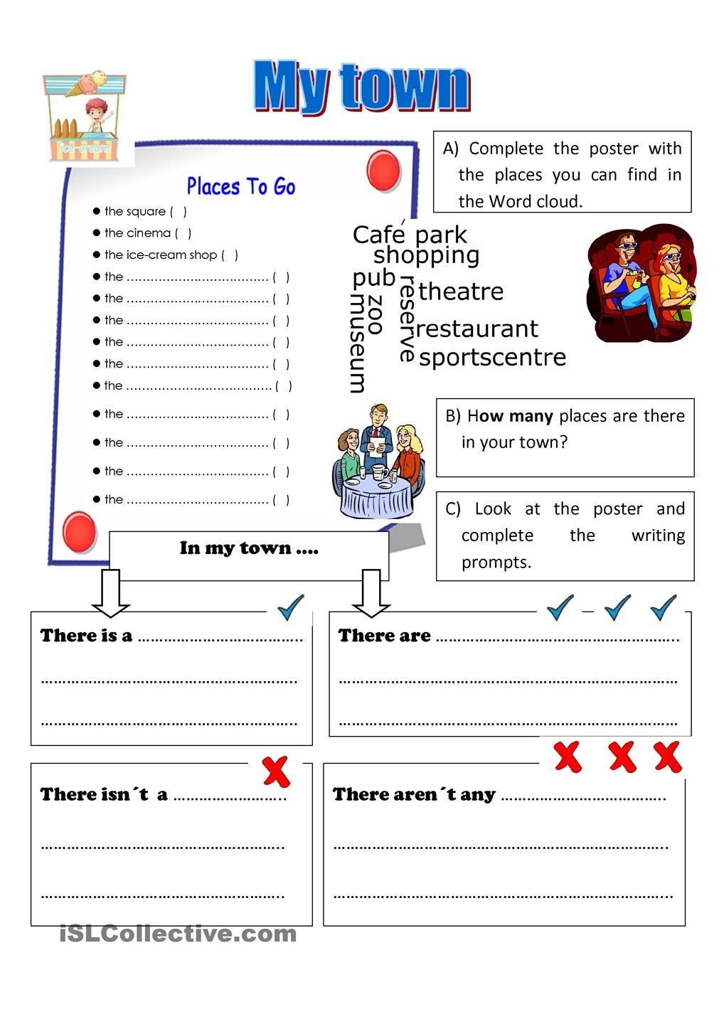Workbooks teach english to spanish speakers worksheets : My town | English vocabulary | Pinterest | English, Worksheets and ...