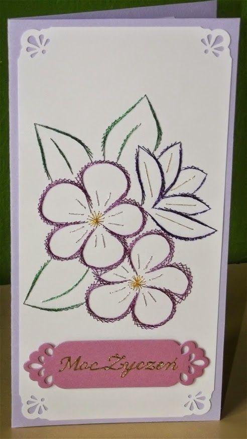 Haft Matematyczny Urodziny Imieniny Inne Paper Embroidery Embroidery Cards Card Patterns