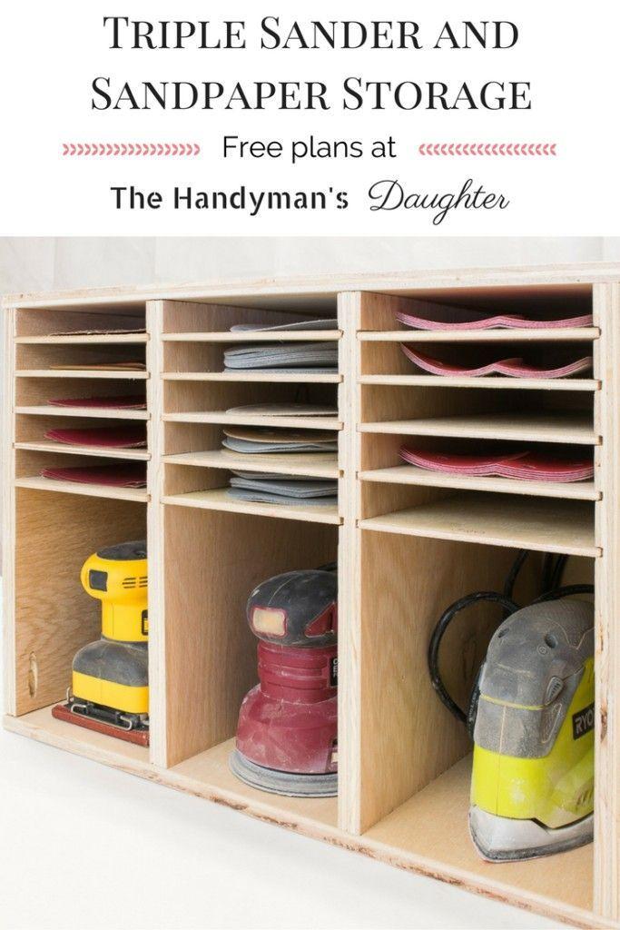 sander and sandpaper storage organization pinterest atelier rangement atelier et garage. Black Bedroom Furniture Sets. Home Design Ideas