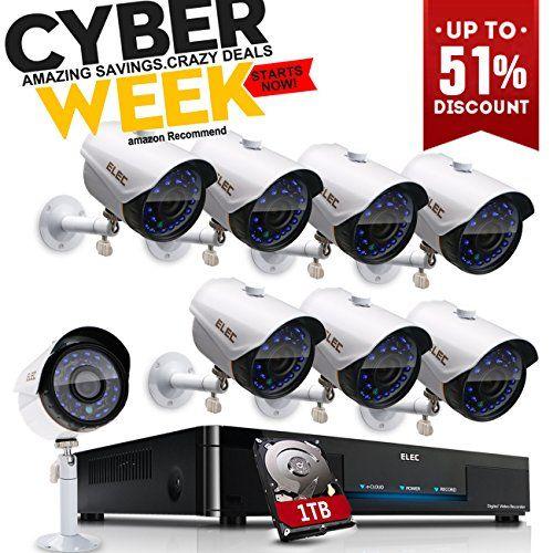 ELEC 8CH 960H DVR 8Channel 1200TVL Home CCTV Surveillance Security - alarme porte d entree