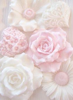 Pretty Cute Kawaii Flowers Pink Floral Pastel Roses Hearts Soap Petals Light Pale Soaps