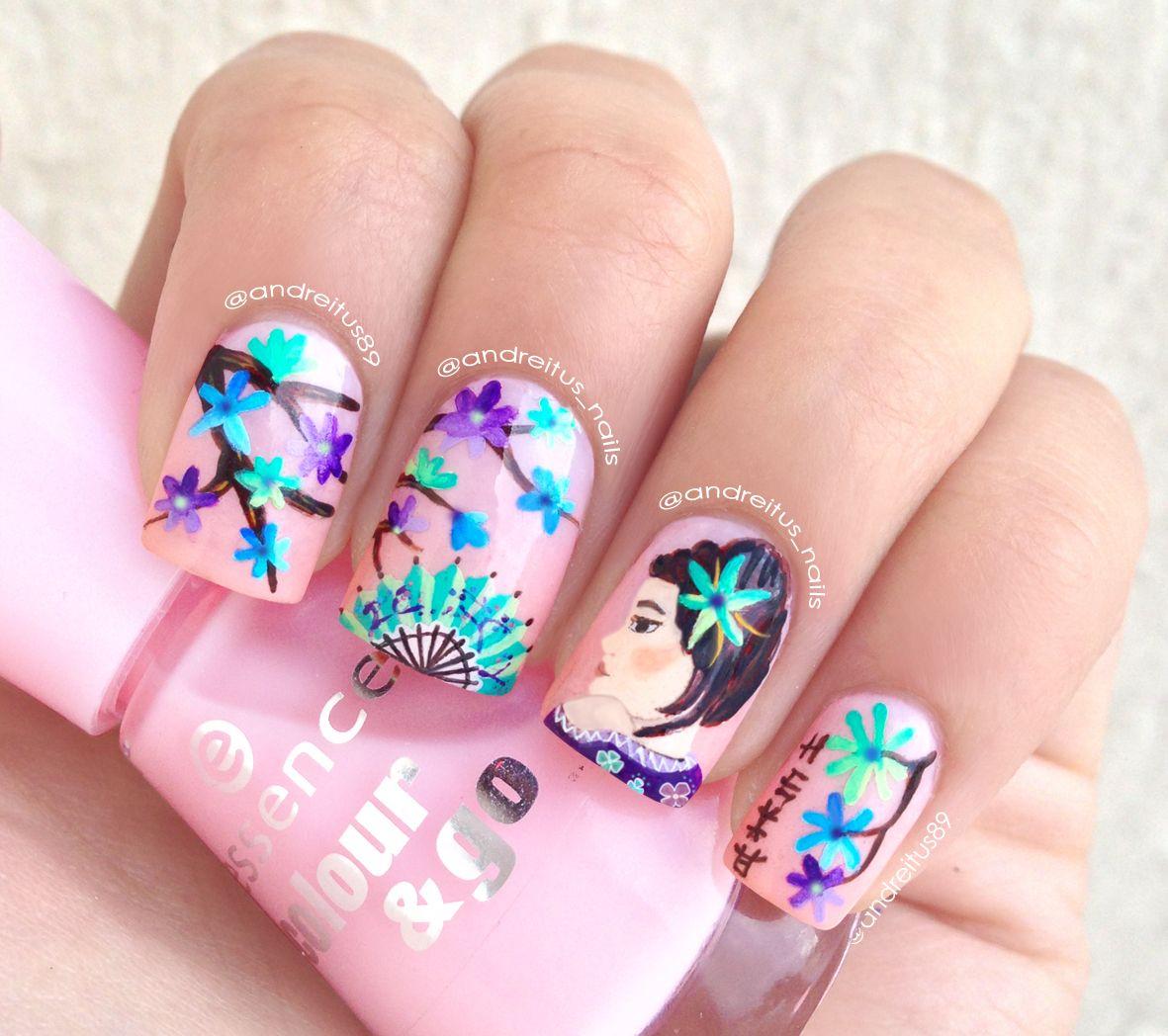 Girly Nail Art: Geisha Nails. Pink Nail Art. NOTD. Cute Nails. Nail Design