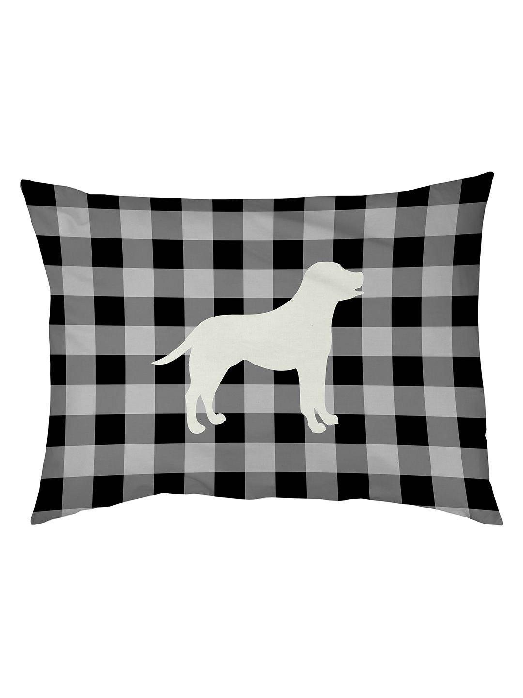 Gingham Silhouette Lab Dog Bed