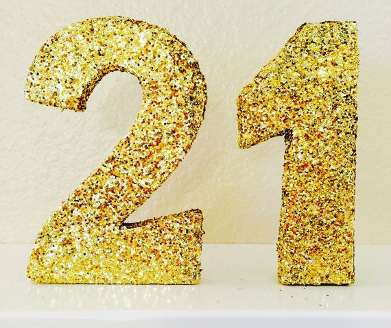 Glittered 21 Glitter Numbers Glittered Number 21 by ...