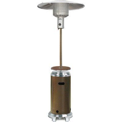 This 87 Outdoor Propane Heater Is Designed For Patio Use The 2 Tone Hammered Gold And Stainless Steel Finish Adds Elegance