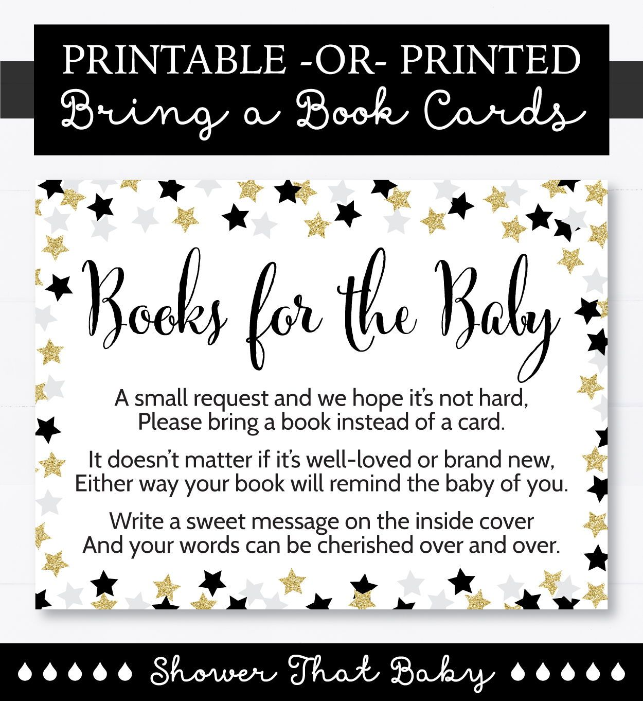 Star Baby Shower Printable Bring A Book Instead Of A Card Etsy Star Baby Showers Baby Shower Printables Document Printing