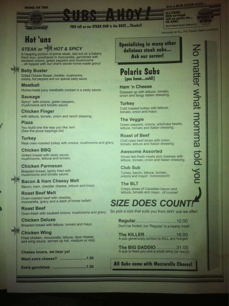 For Pizza Sakes, Welland Menu