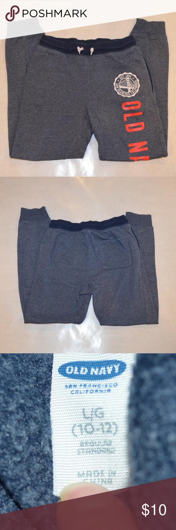 Old Navy Logo Boys Navy/Gray Sweatpants How to wear