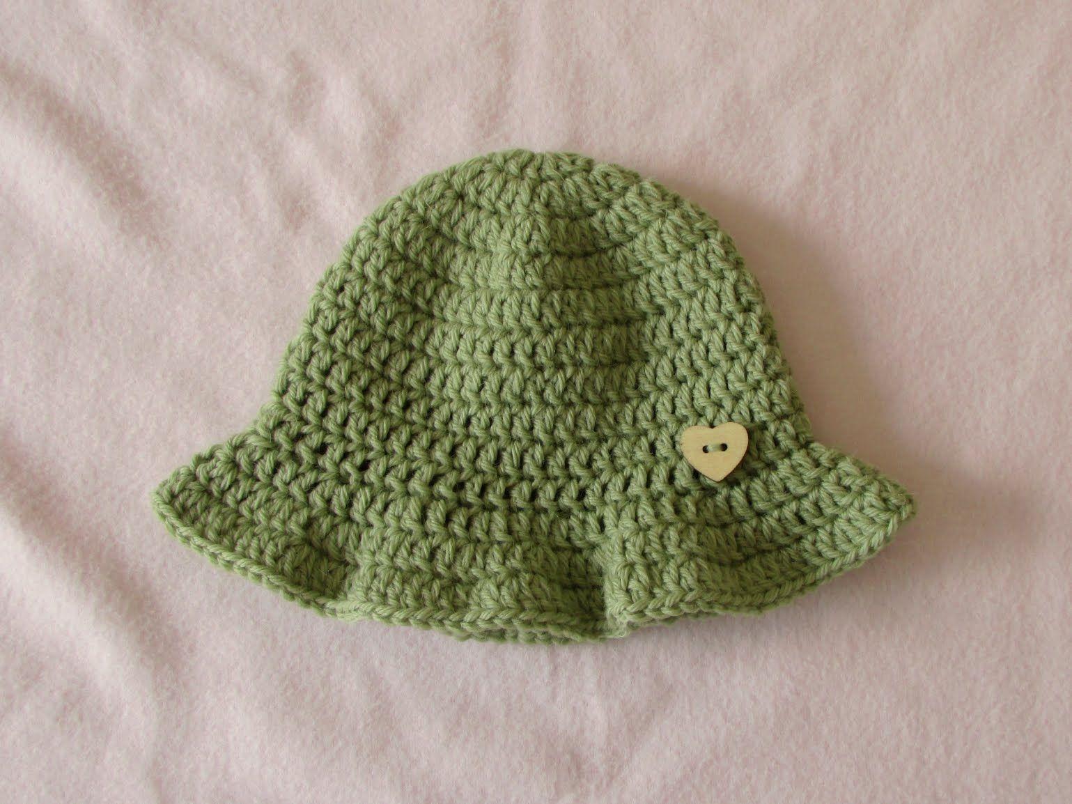 VERY EASY simple crochet baby sun hat tutorial - summer baby hat ...