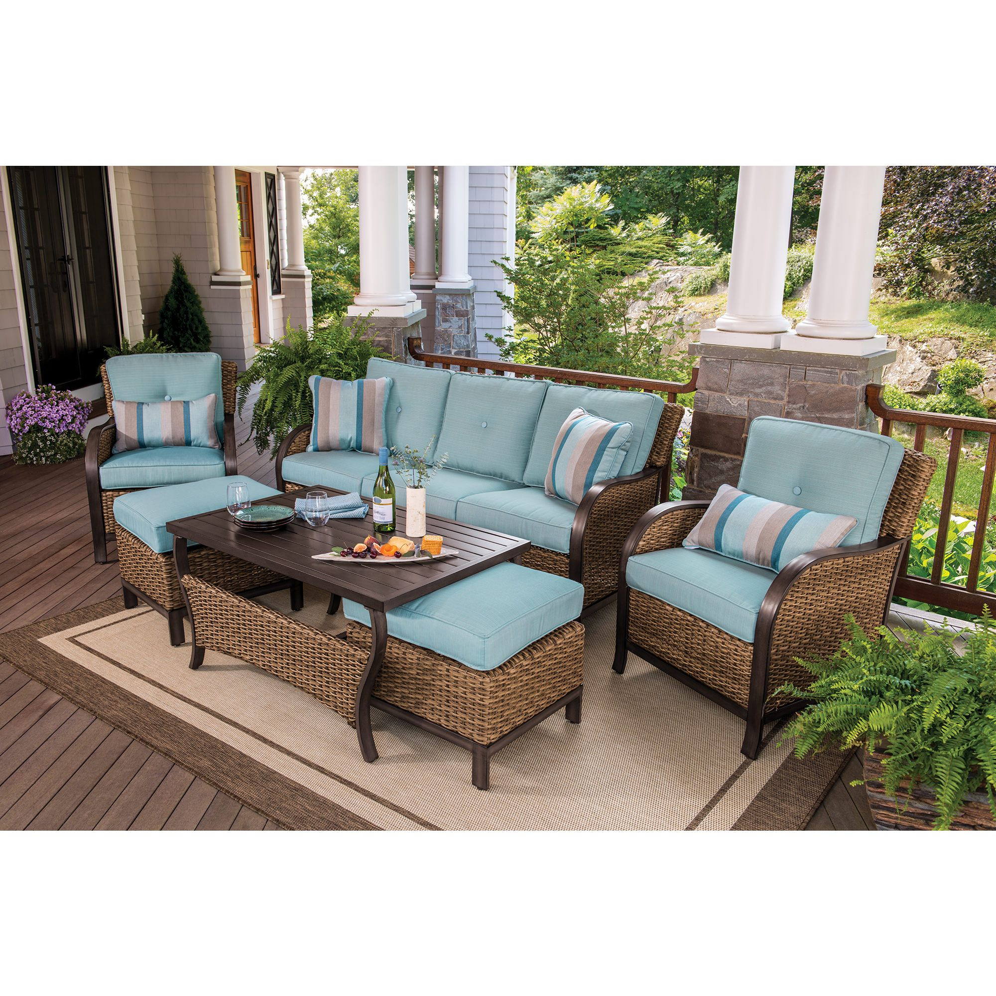 Berkley jensen nantucket 6 piece wicker patio set bjs for Outdoor wicker patio furniture