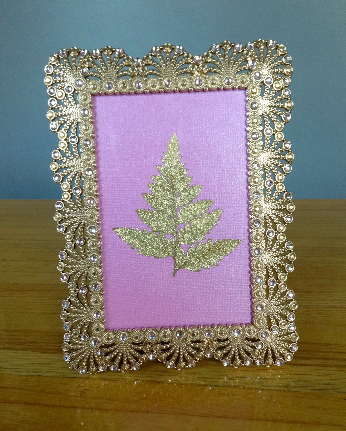 Gold and Pink, 6 x 8 Frame, Gold Frame, Handmade, Pressed Fern ...