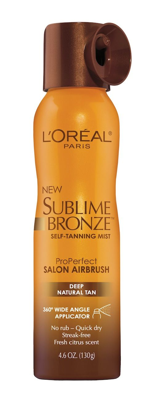 Sublime Bronze™ ProPerfect Salon Airbrush Mist Deep Natural Tan. The coloring is beautiful but the smell is a little rough to get through.