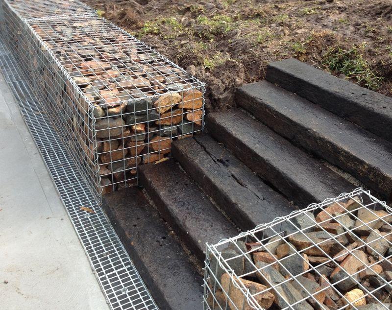 Gabion Wall With Railway Sleepers Gabion1 Australia In 2020 Concrete Sleeper Retaining Walls Sleeper Retaining Wall Gabion Retaining Wall