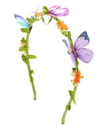 Loving this Purple & Blue Butterfly Flower Headband on #zulily! #zulilyfinds