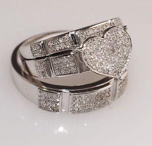 Diamond White Gold Heart Trio Set Wedding Engagement Ring For His