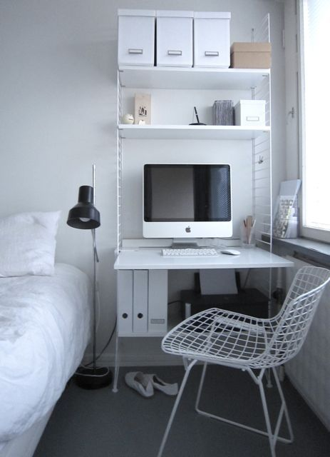 Desk-night stand for a small apartment.