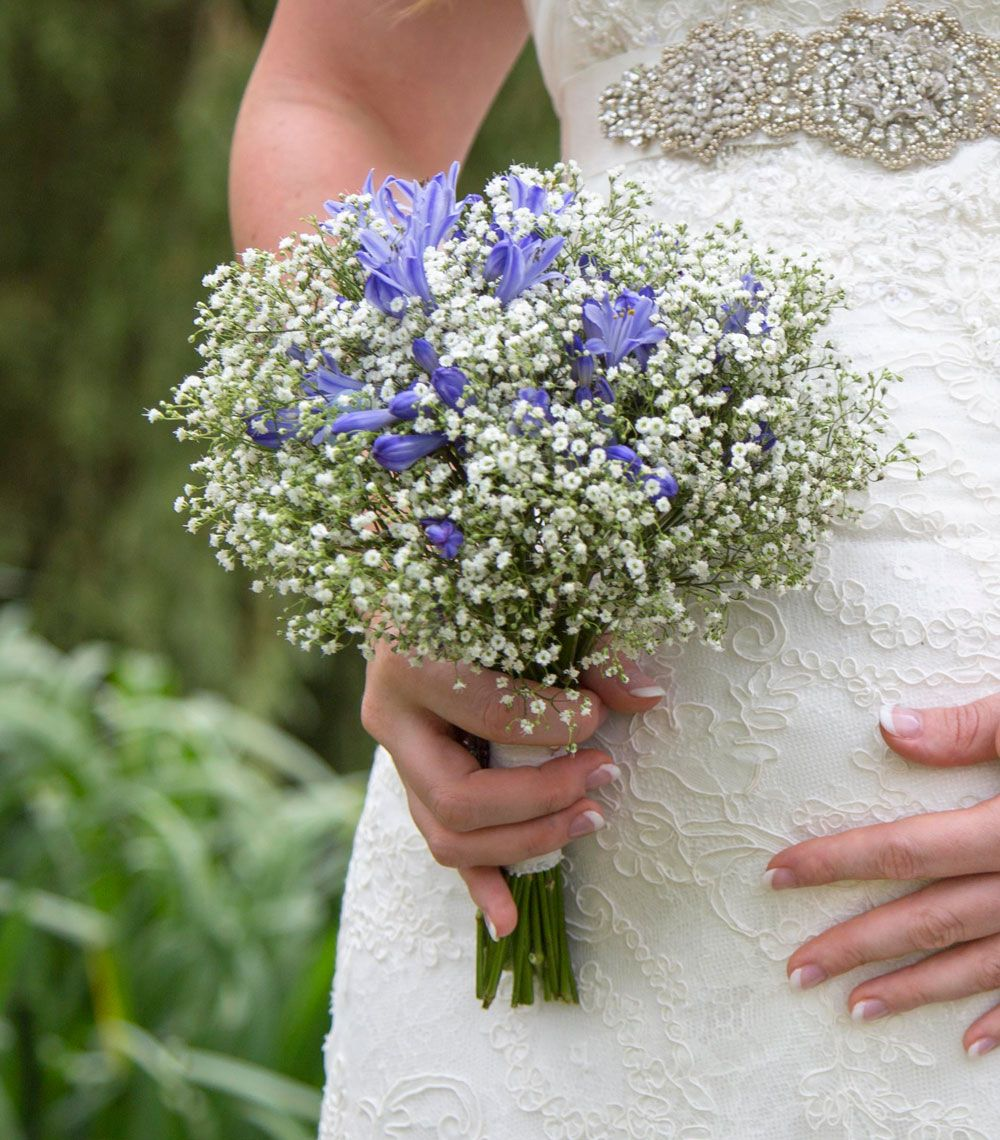 Simple Flower Bouquets For Weddings: White Gypsophila And Blue Agapanthus Bridal Bouquet